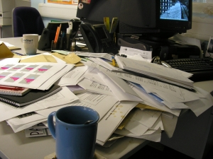 desk of papers due diligence